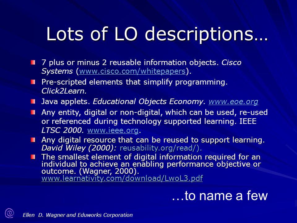 Lots of LO descriptions…