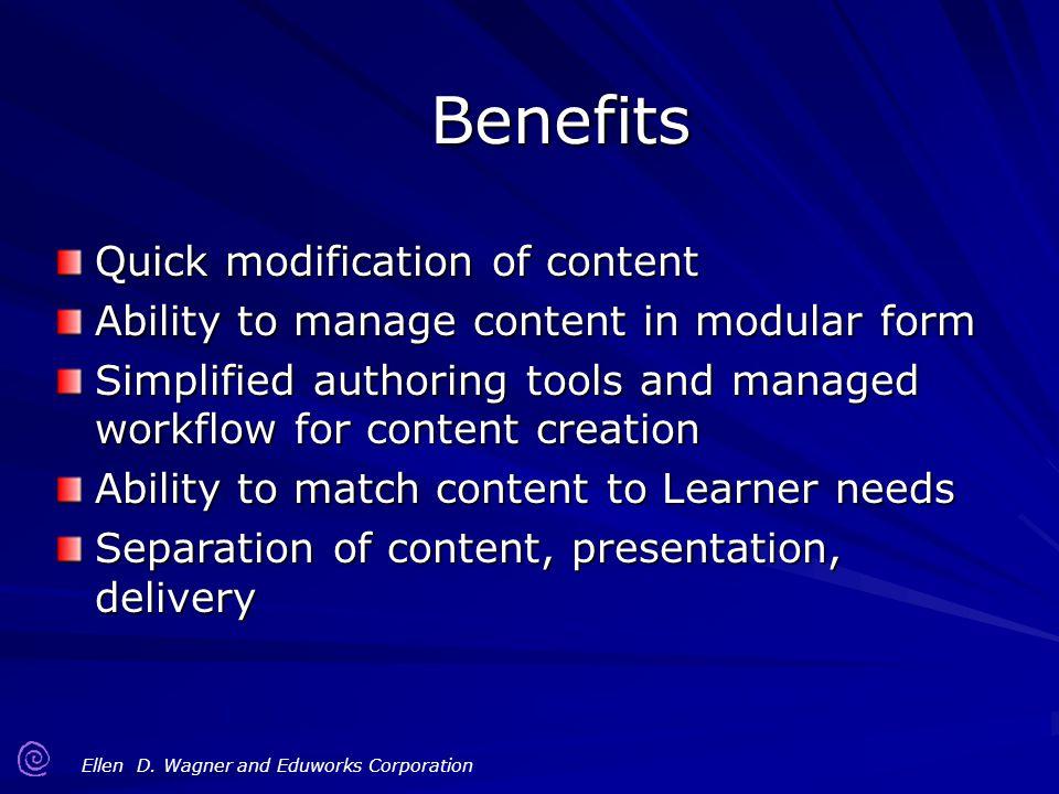 Benefits Quick modification of content