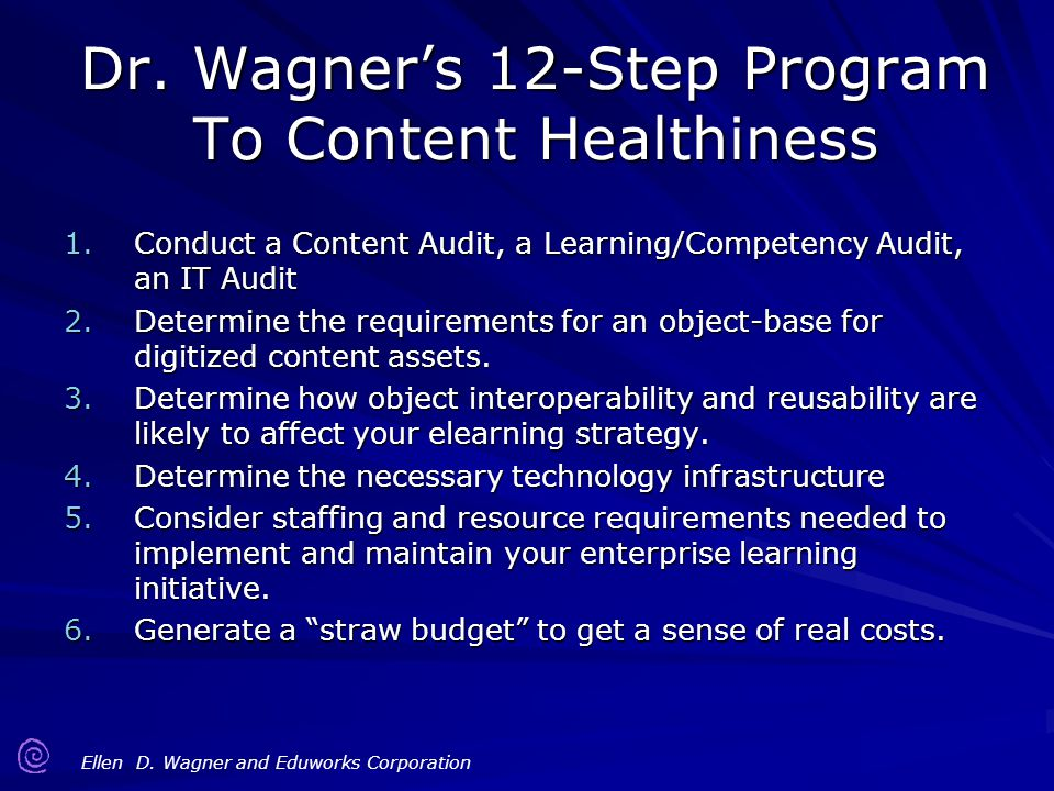 Dr. Wagner's 12-Step Program To Content Healthiness