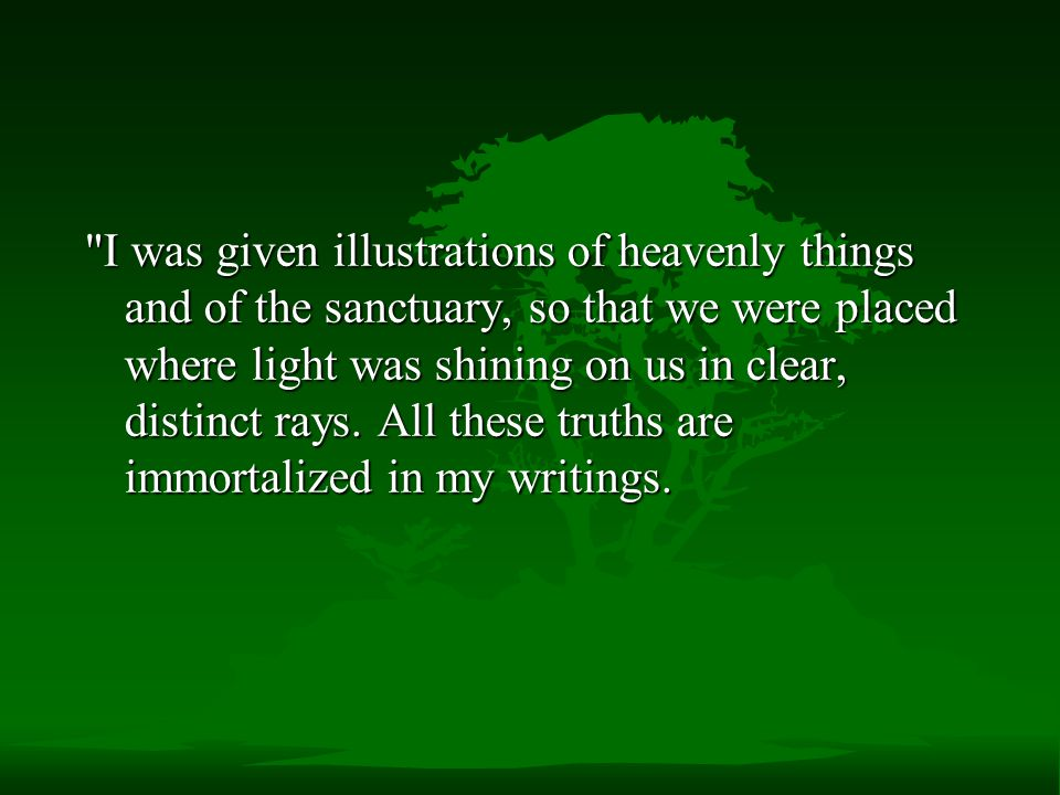 I was given illustrations of heavenly things and of the sanctuary, so that we were placed where light was shining on us in clear, distinct rays.