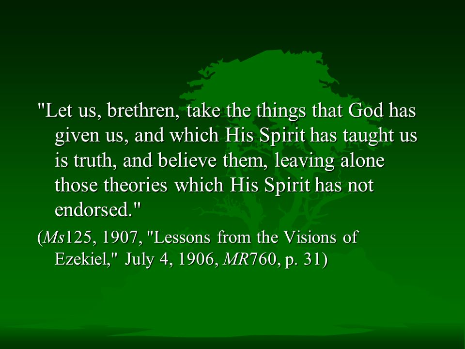Let us, brethren, take the things that God has given us, and which His Spirit has taught us is truth, and believe them, leaving alone those theories which His Spirit has not endorsed.