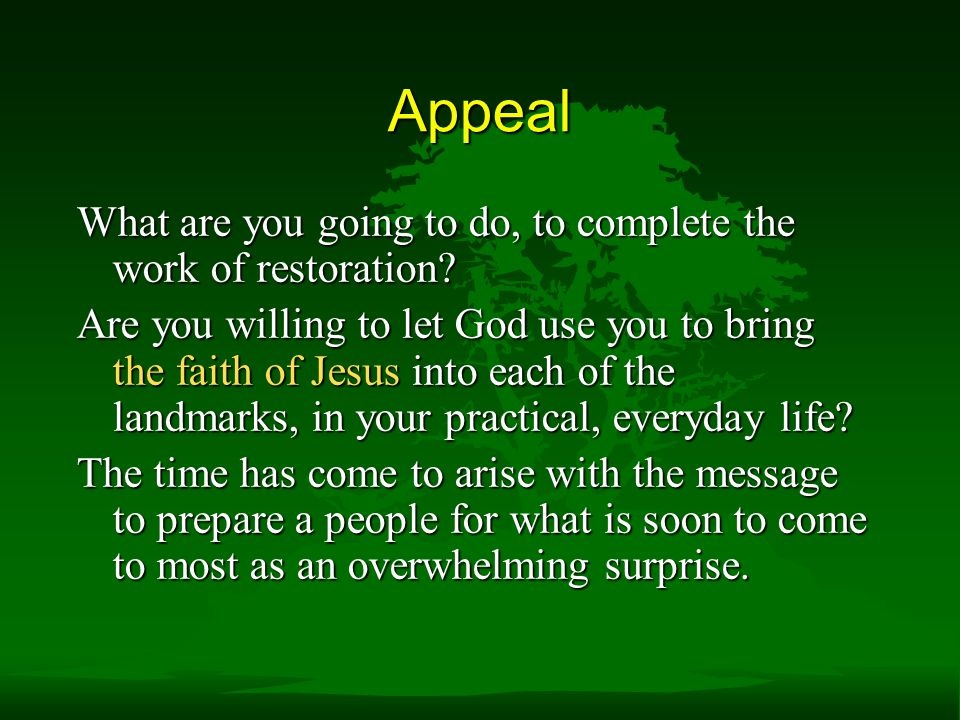 Appeal What are you going to do, to complete the work of restoration