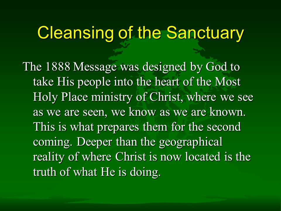 Cleansing of the Sanctuary
