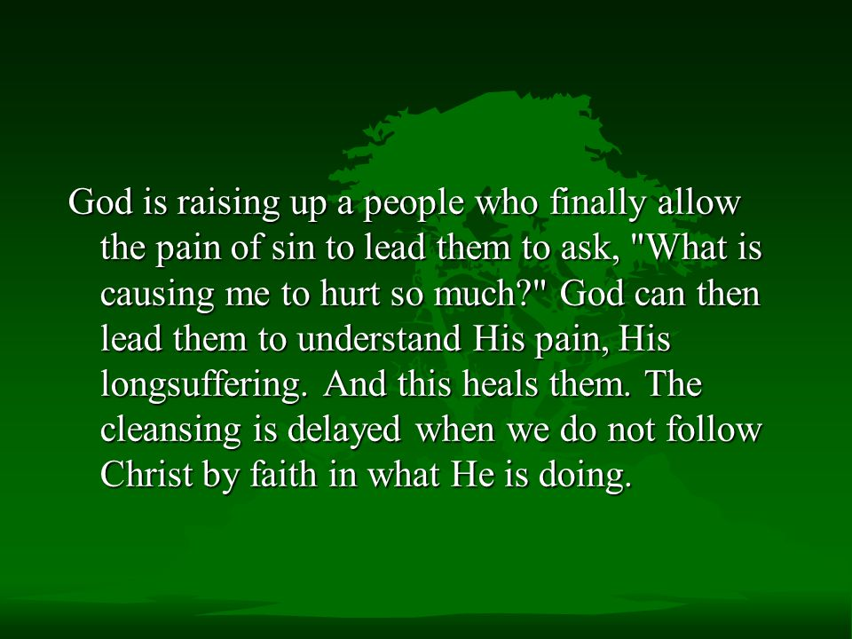 God is raising up a people who finally allow the pain of sin to lead them to ask, What is causing me to hurt so much God can then lead them to understand His pain, His longsuffering.