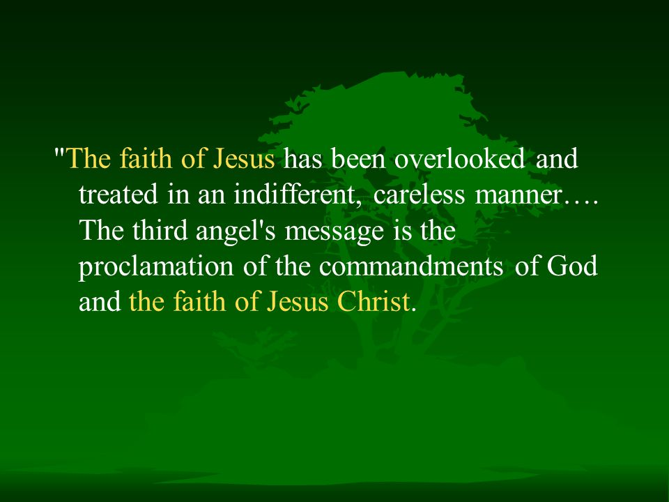 The faith of Jesus has been overlooked and treated in an indifferent, careless manner….