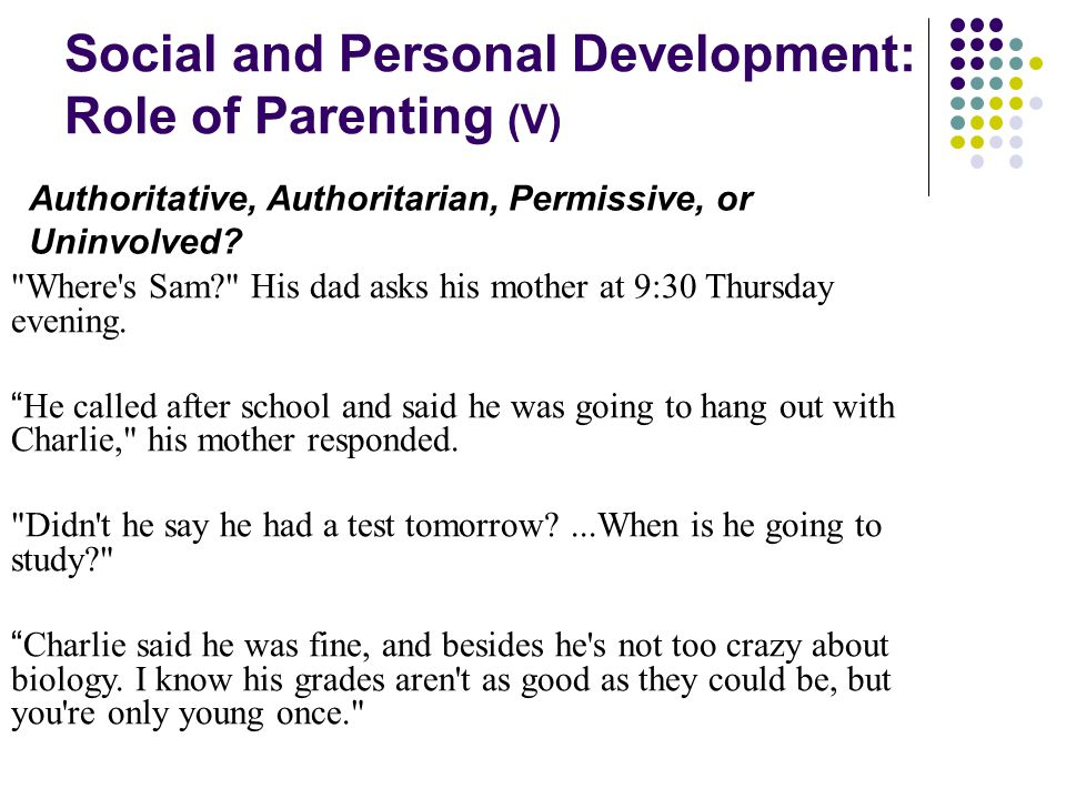 Social and Personal Development: Role of Parenting (V)