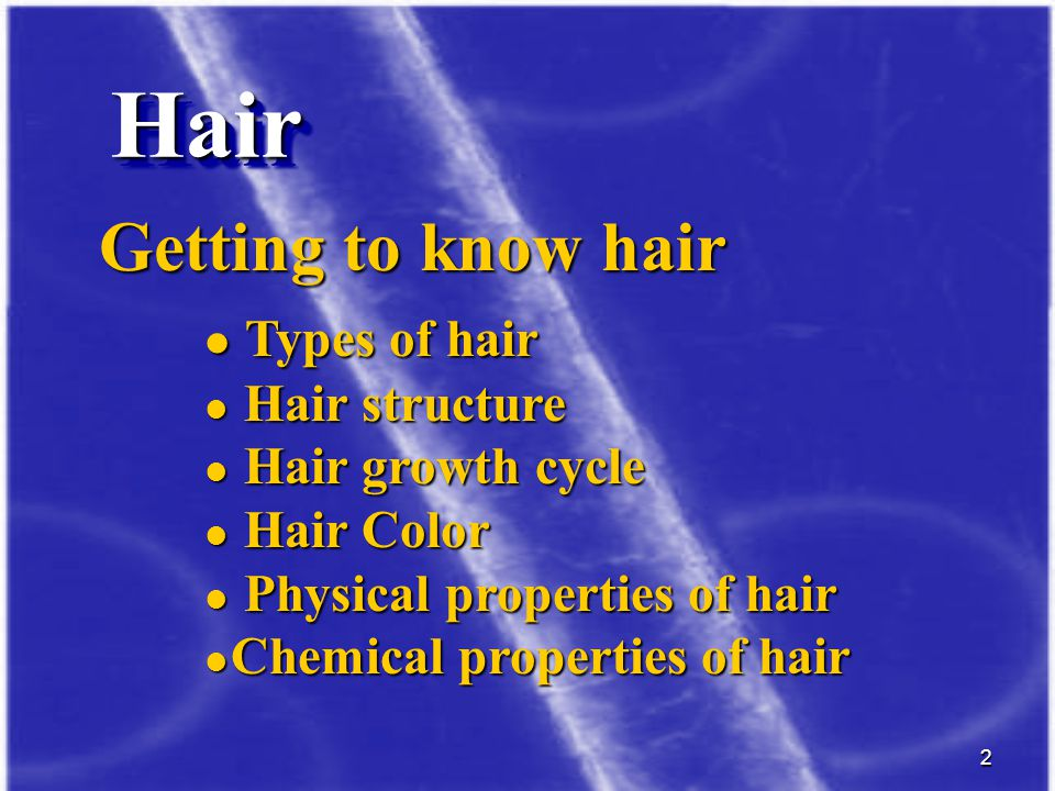 Hair Getting to know hair Types of hair Hair structure