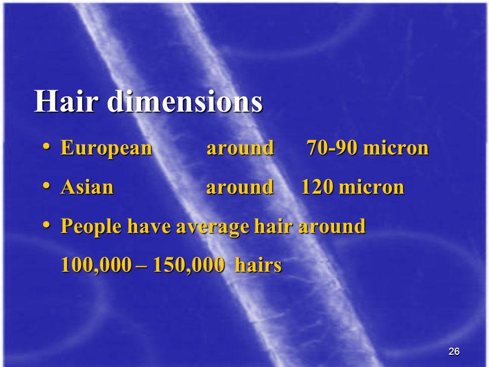 Hair dimensions European around 70-90 micron Asian around 120 micron