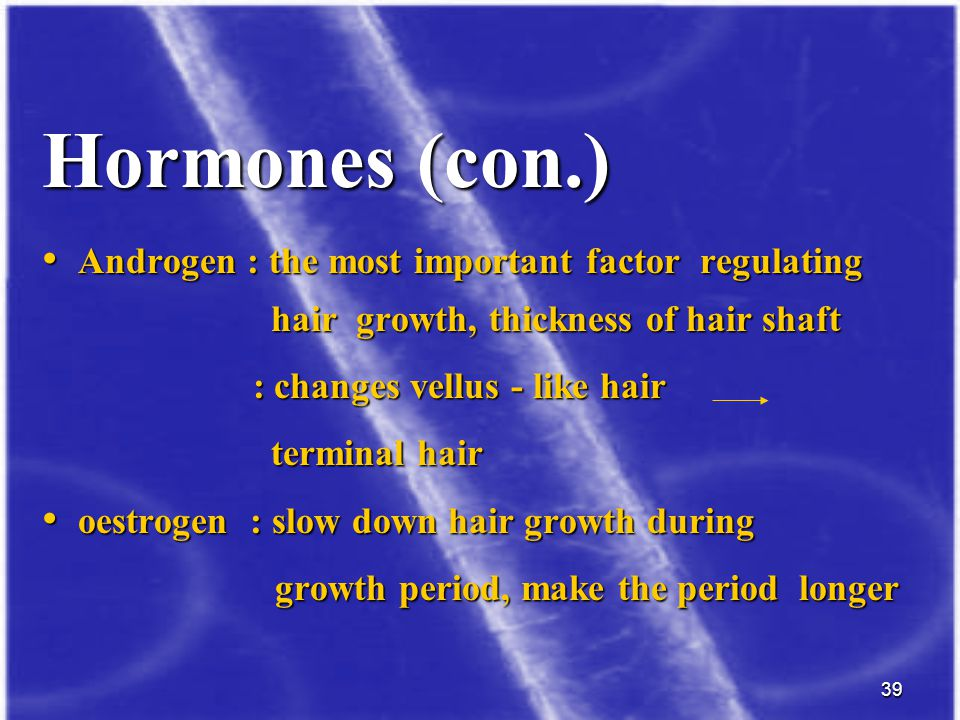 Hormones (con.) Androgen : the most important factor regulating hair growth, thickness of hair shaft.