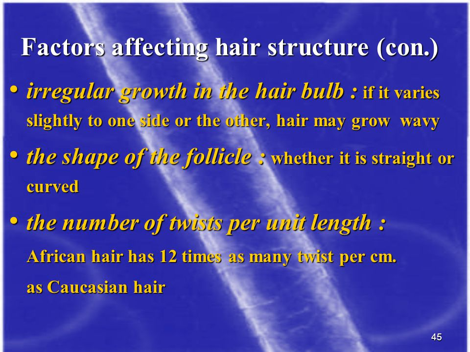 Factors affecting hair structure (con.)