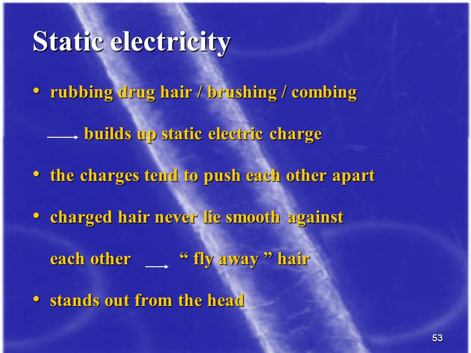 Static electricity rubbing drug hair / brushing / combing