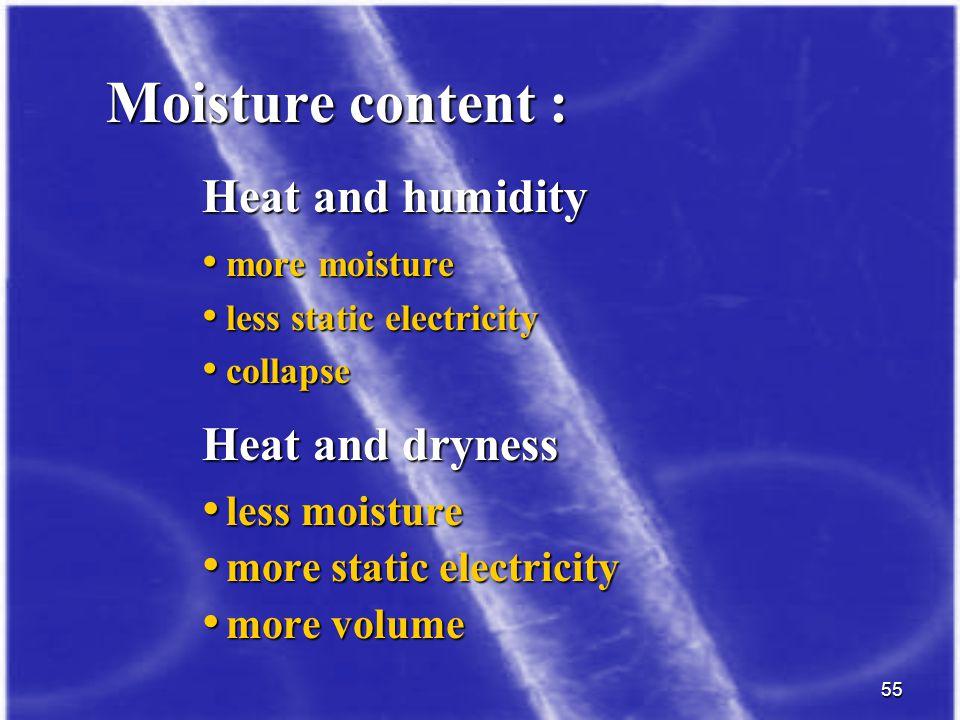 Moisture content : less moisture more static electricity more volume