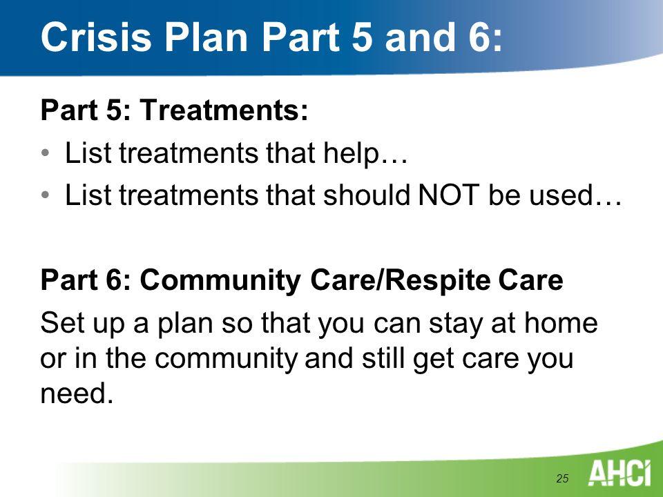 Crisis Plan Part 5 and 6: Part 5: Treatments: