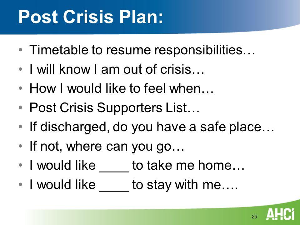Post Crisis Plan: Timetable to resume responsibilities…