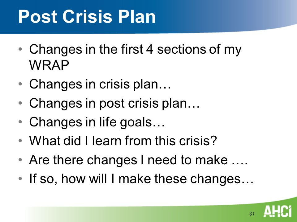 Post Crisis Plan Changes in the first 4 sections of my WRAP