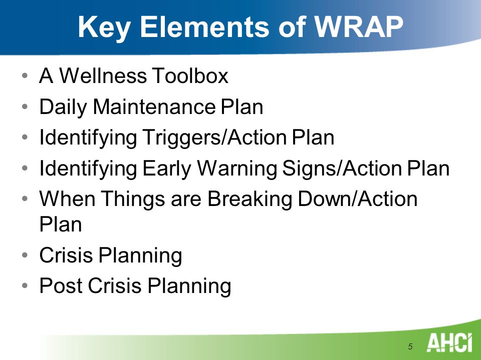 Key Elements of WRAP A Wellness Toolbox Daily Maintenance Plan
