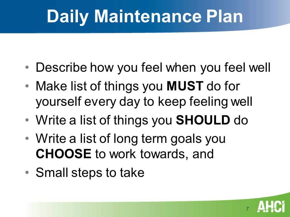 Daily Maintenance Plan