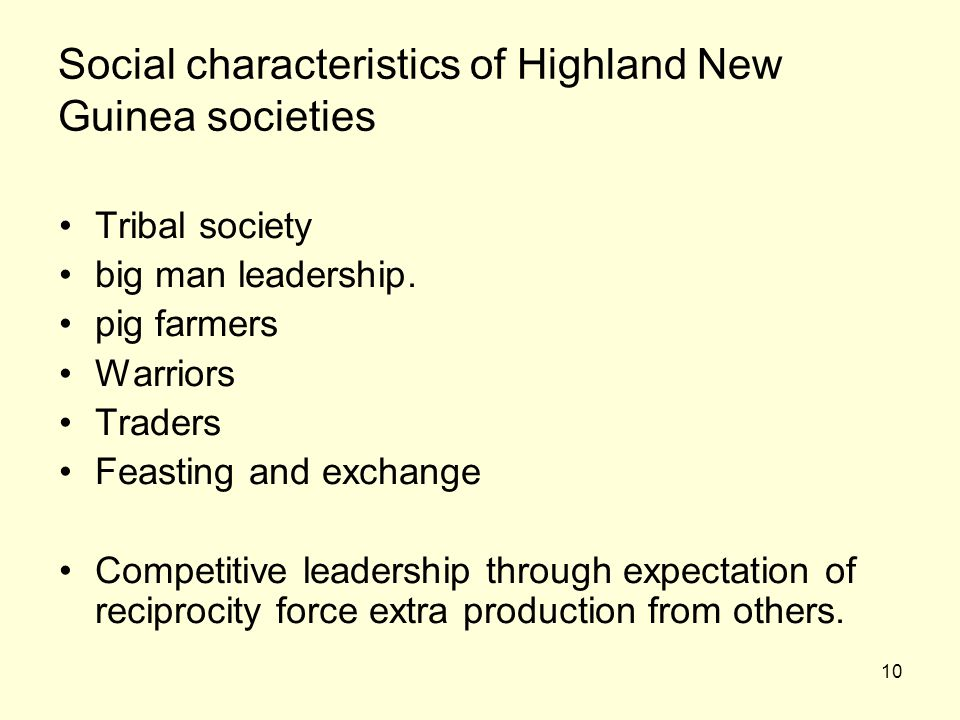 Social characteristics of Highland New Guinea societies