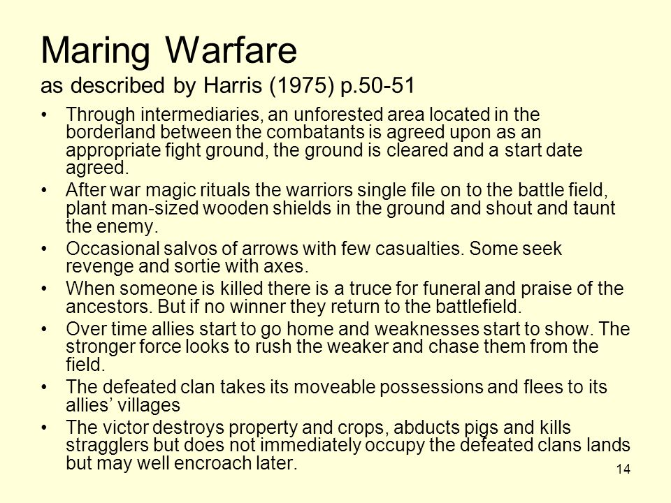Maring Warfare as described by Harris (1975) p.50-51