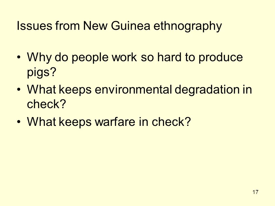 Issues from New Guinea ethnography