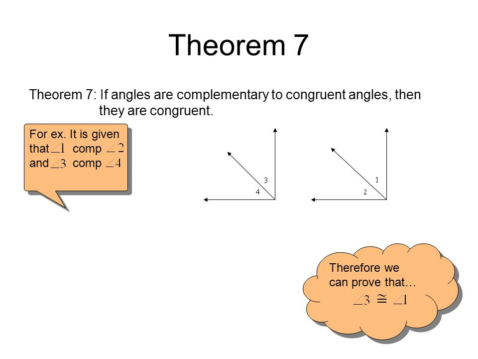Theorem 7 Theorem 7: If angles are complementary to congruent angles, then they are congruent.