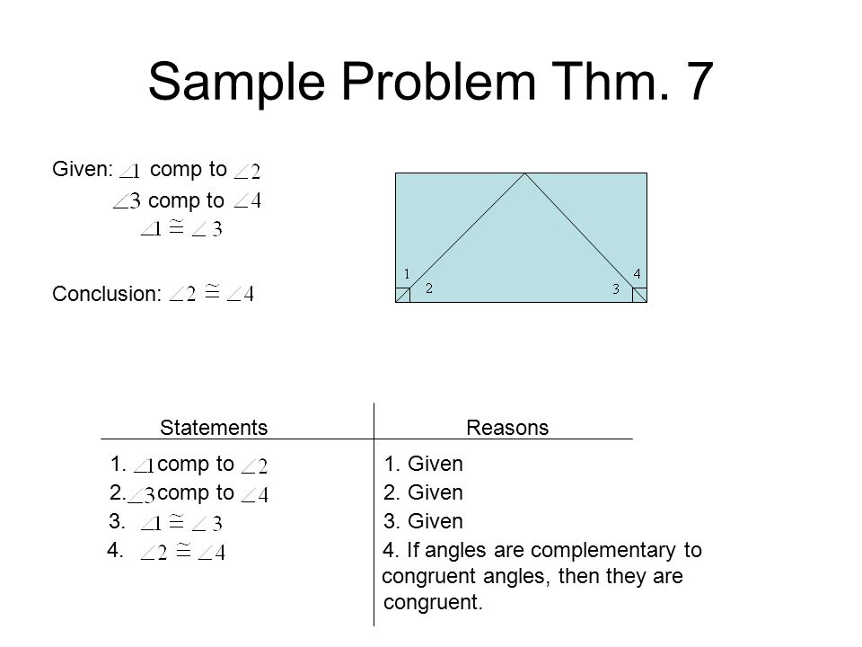 Sample Problem Thm. 7 Given: comp to comp to Conclusion: