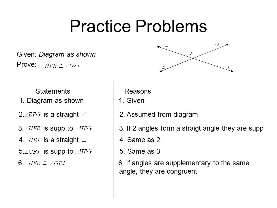 Practice Problems Given: Diagram as shown Prove: Statements Reasons