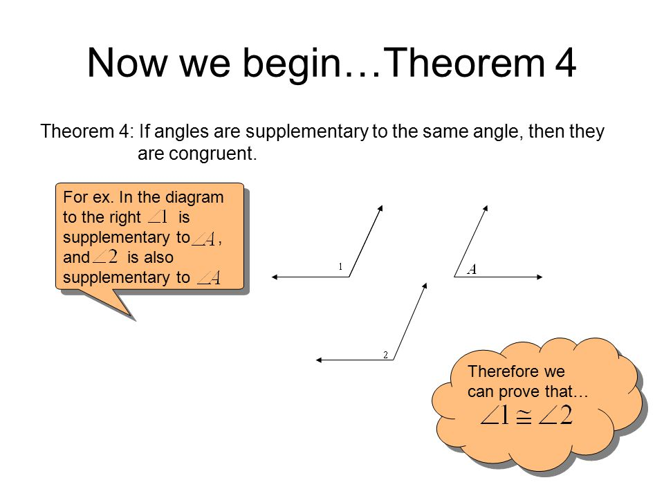 Now we begin…Theorem 4 Theorem 4: If angles are supplementary to the same angle, then they are congruent.