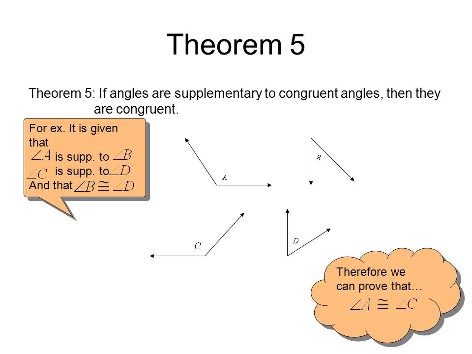 Theorem 5 Theorem 5: If angles are supplementary to congruent angles, then they are congruent.