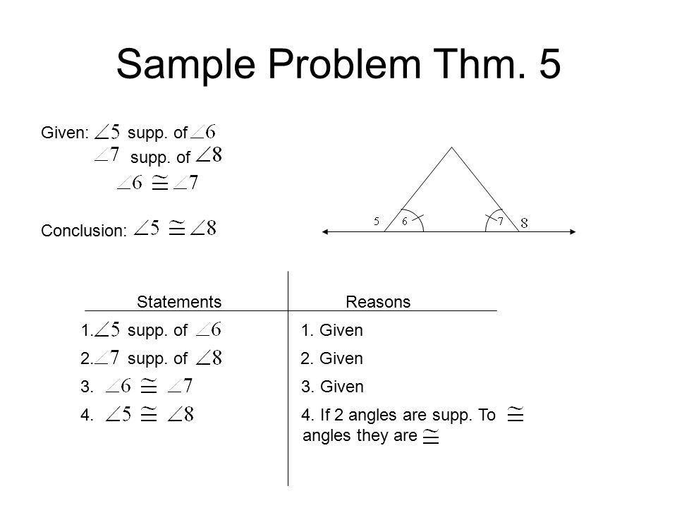 Sample Problem Thm. 5 Given: supp. of supp. of Conclusion: Statements