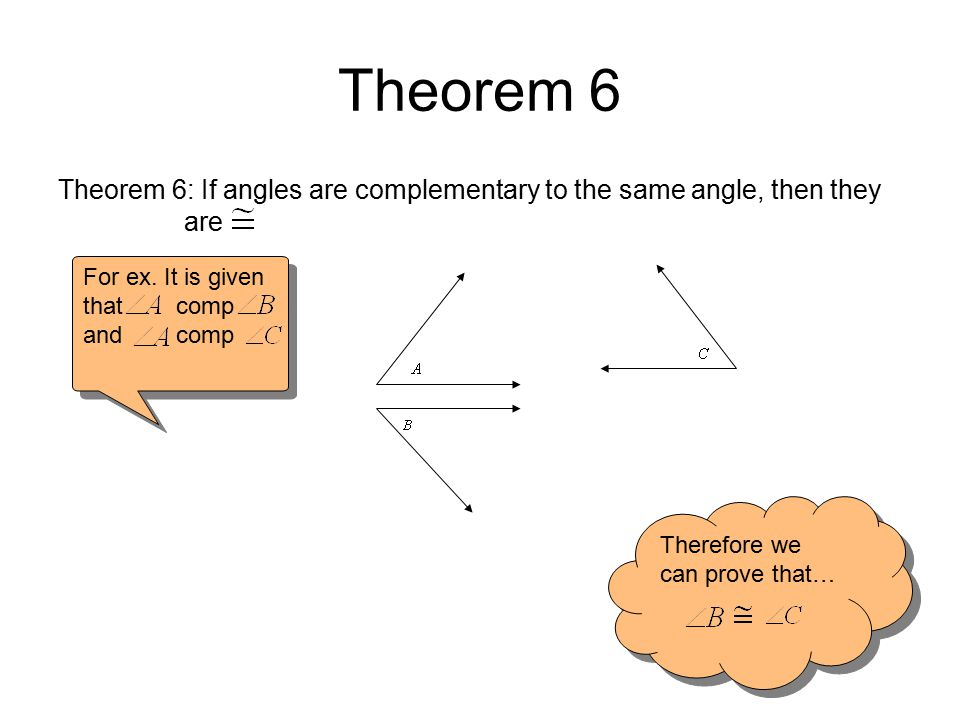 Theorem 6 Theorem 6: If angles are complementary to the same angle, then they are. For ex. It is given that comp.