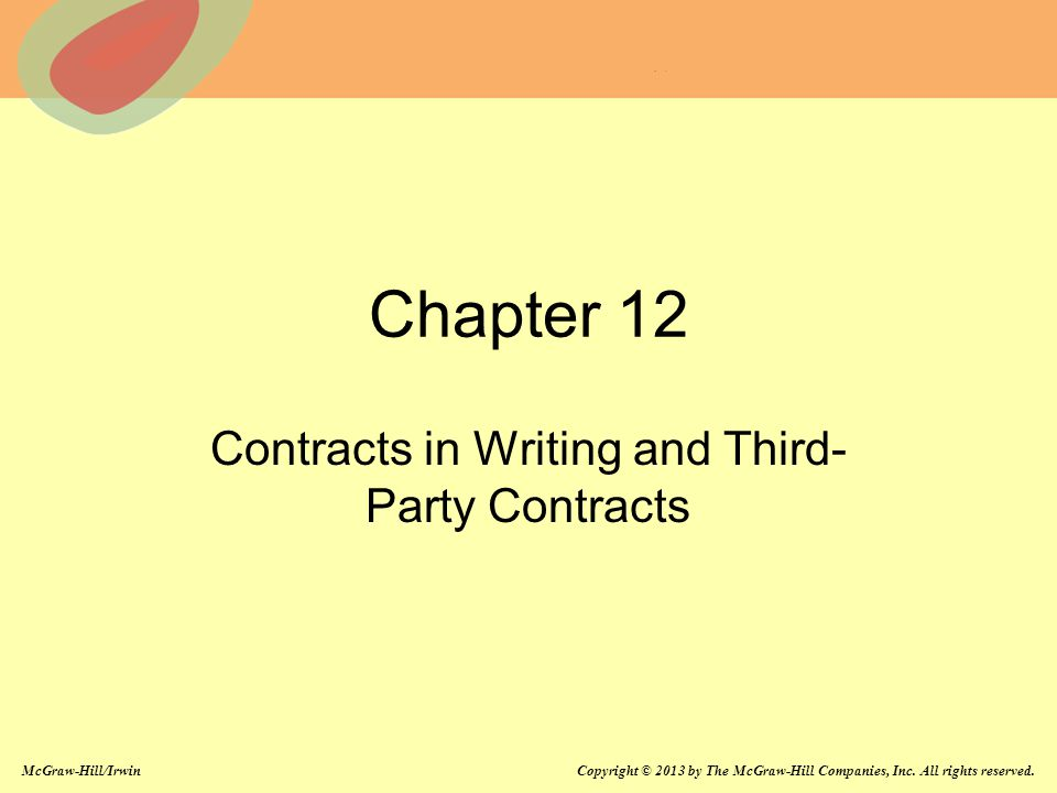 Contracts in Writing and Third-Party Contracts