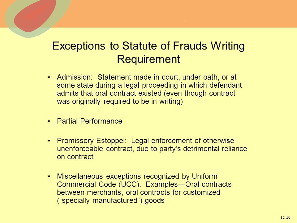 Exceptions to Statute of Frauds Writing Requirement