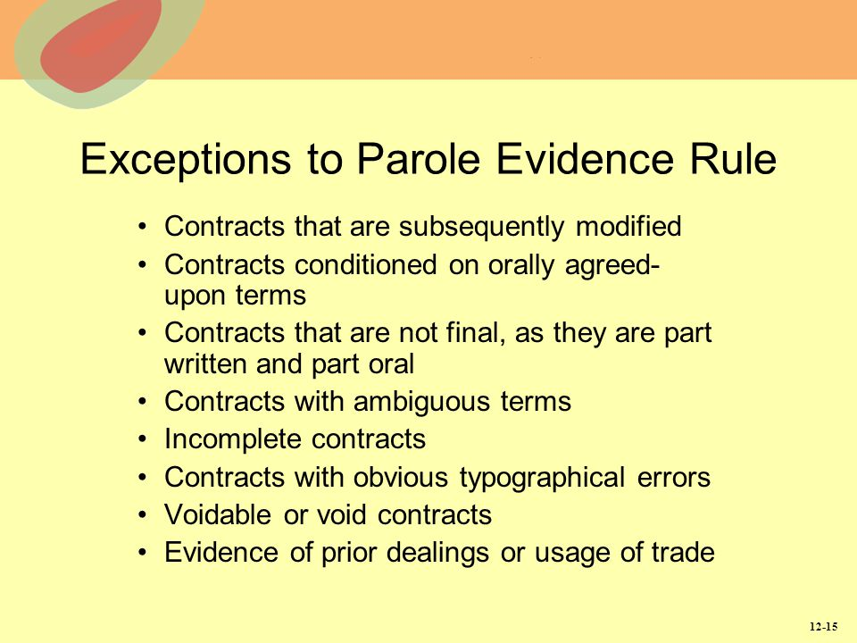 Exceptions to Parole Evidence Rule