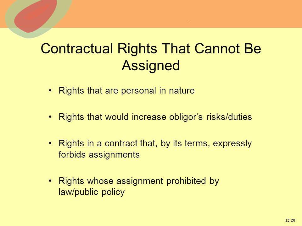 Contractual Rights That Cannot Be Assigned