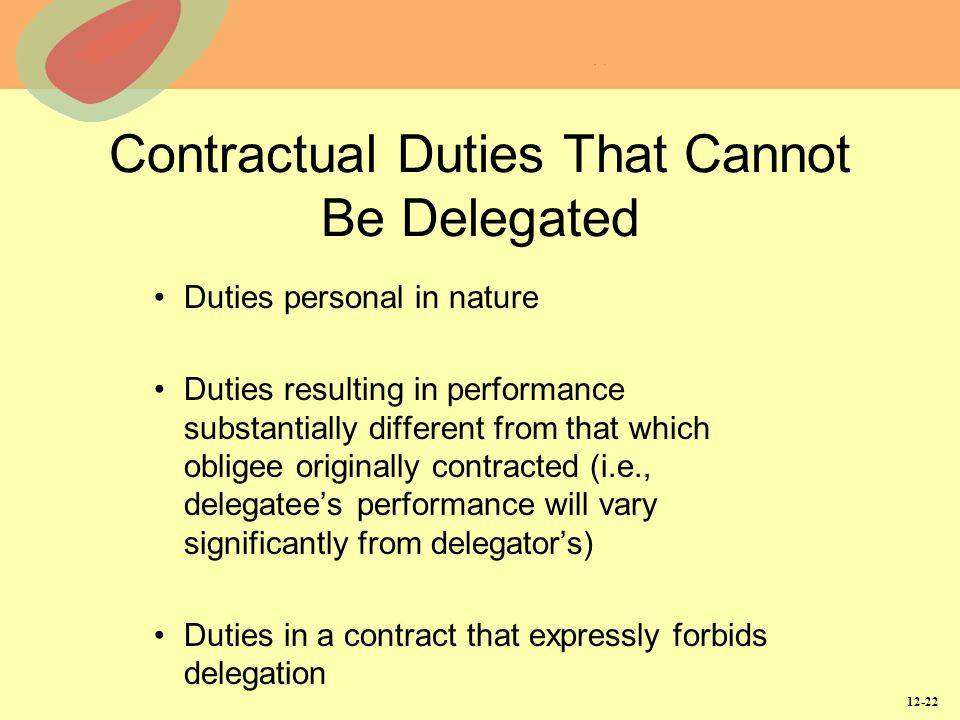 Contractual Duties That Cannot Be Delegated