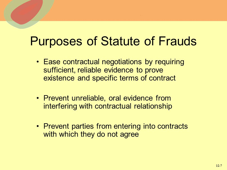 Purposes of Statute of Frauds