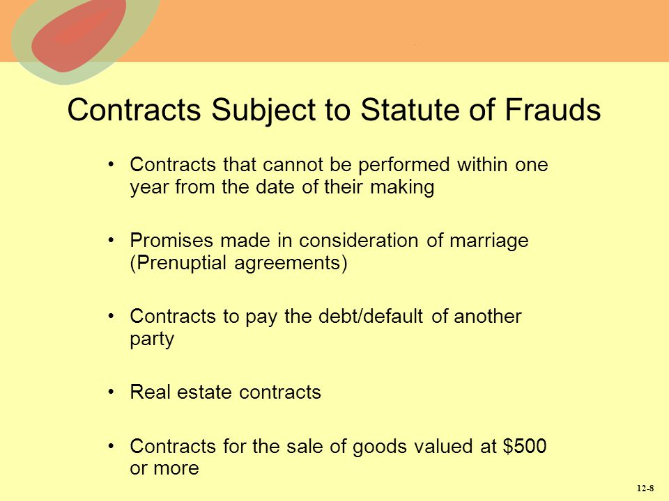 Contracts Subject to Statute of Frauds