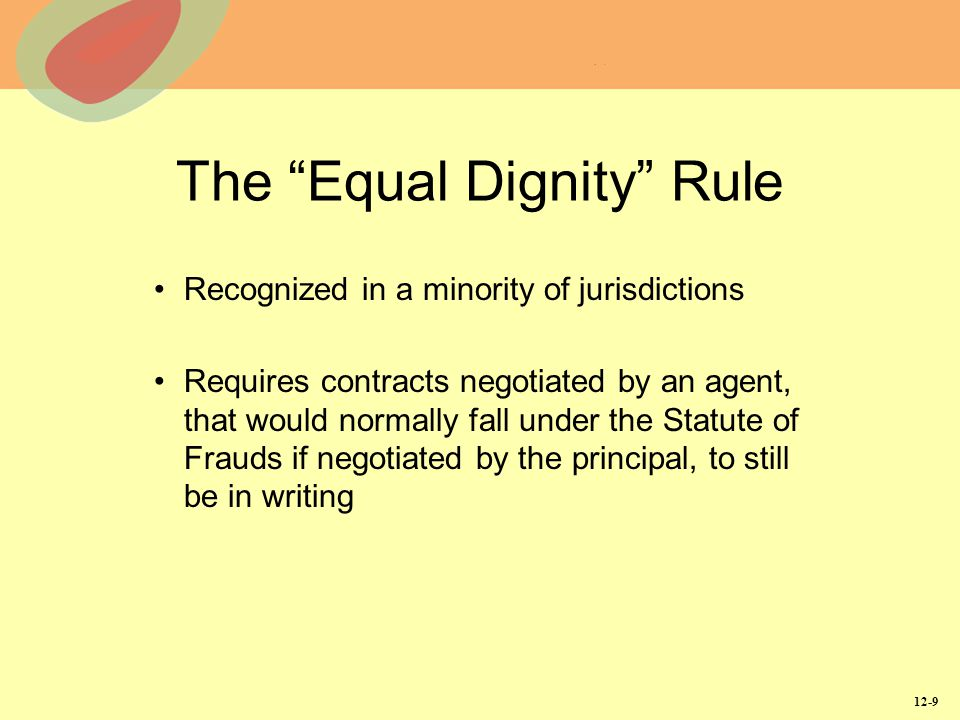 The Equal Dignity Rule