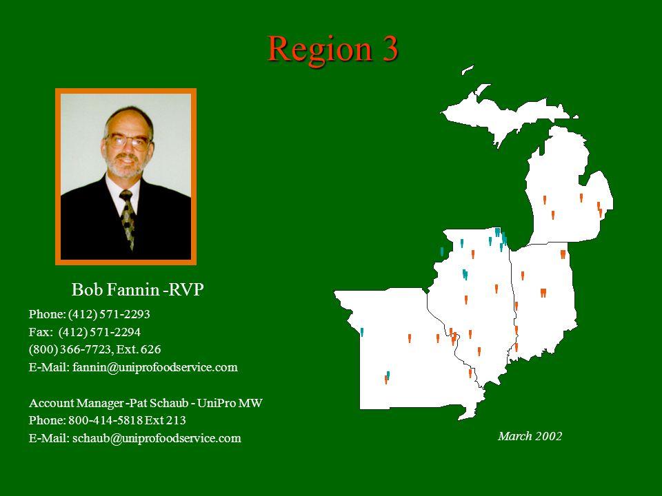 Region 3 Bob Fannin -RVP Phone: (412) 571-2293 Fax: (412) 571-2294