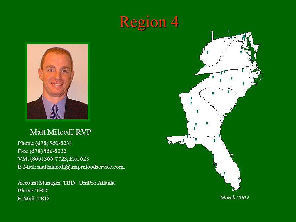 Region 4 Matt Milcoff-RVP Phone: (678) 560-8231 Fax: (678) 560-8232