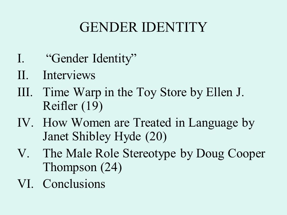 GENDER IDENTITY Gender Identity Interviews