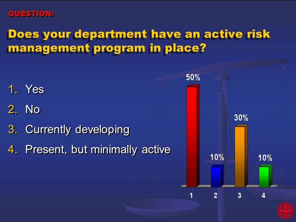 Does your department have an active risk management program in place