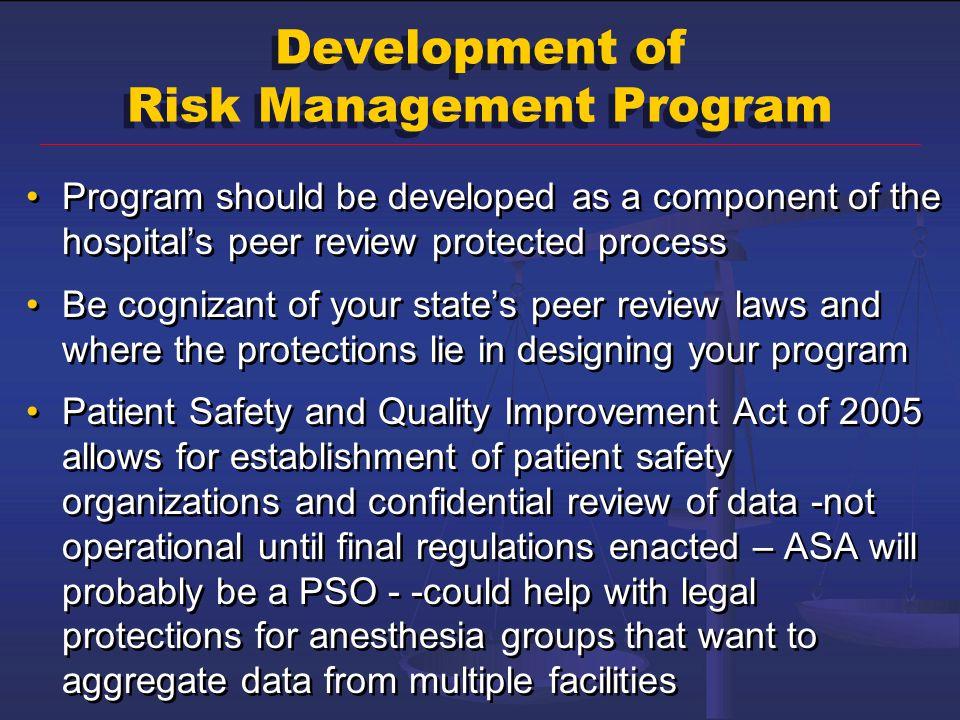 Development of Risk Management Program