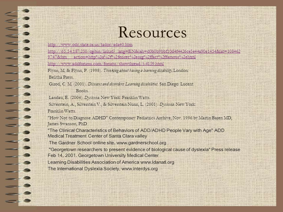 Resources http://www.odc.state.or.us/tadoc/ada40.htm