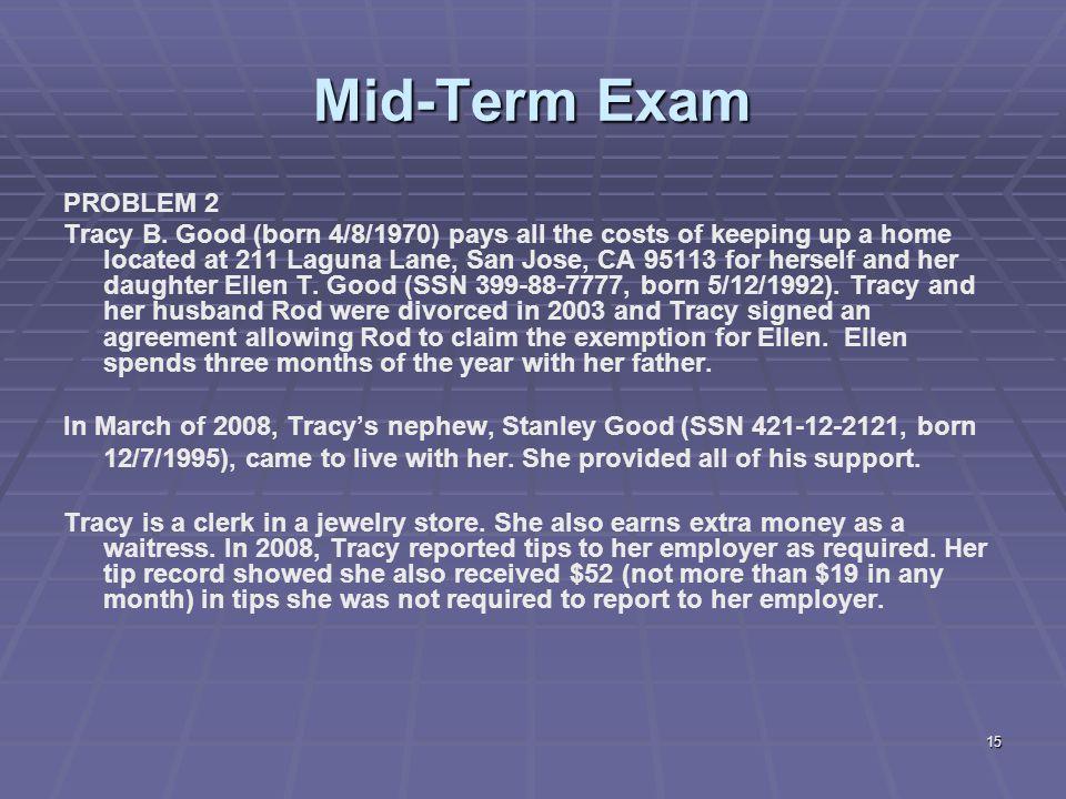Mid-Term Exam PROBLEM 2.