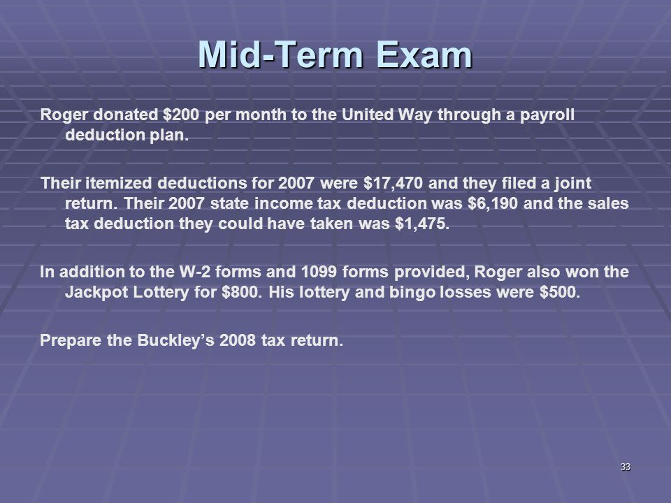 Mid-Term Exam Roger donated $200 per month to the United Way through a payroll deduction plan.
