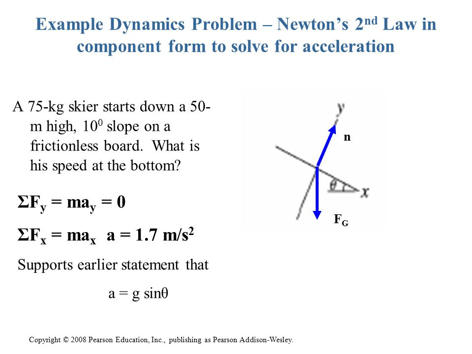 Example Dynamics Problem – Newton's 2nd Law in component form to solve for acceleration