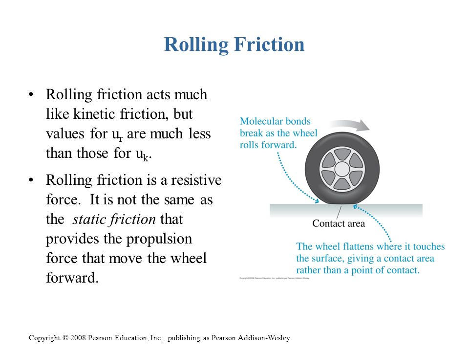 Rolling Friction Rolling friction acts much like kinetic friction, but values for ur are much less than those for uk.