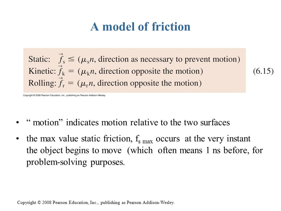 A model of friction motion indicates motion relative to the two surfaces.